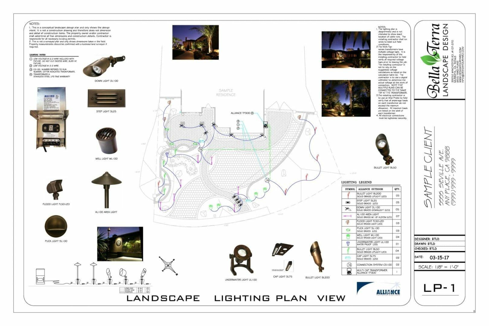 Sample plans bella terra landscape design - How to design landscape lighting plan ...
